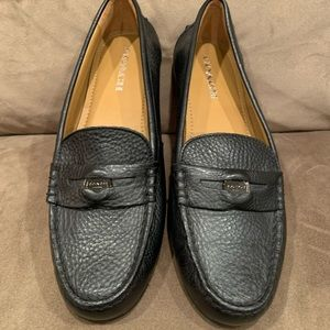 Coach Pebble Leather Black Loafer NEW